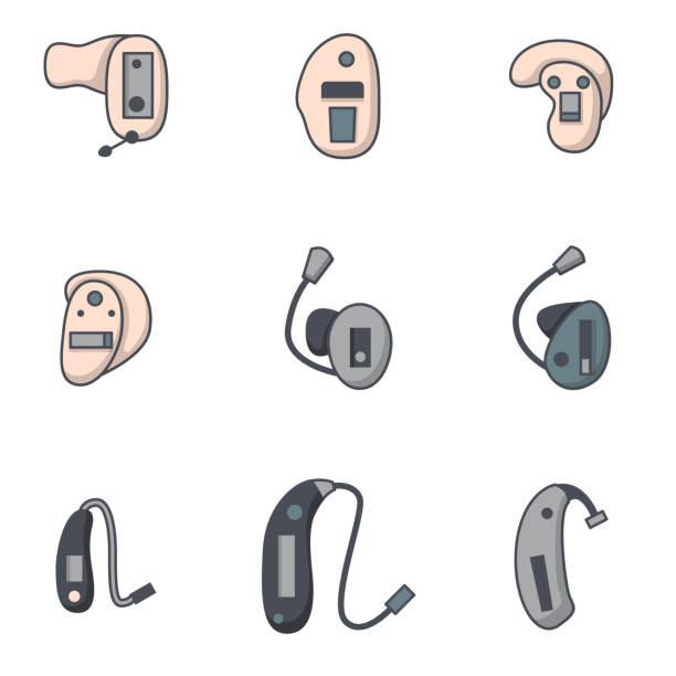 帶有扁平線助聽器圖示的向量集 - hearing aid 幅插畫檔、美工圖案、卡通及圖標