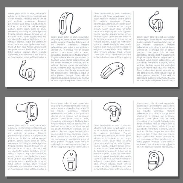 帶有扁線助聽器圖示的向量集 - hearing aid 幅插畫檔、美工圖案、卡通及圖標