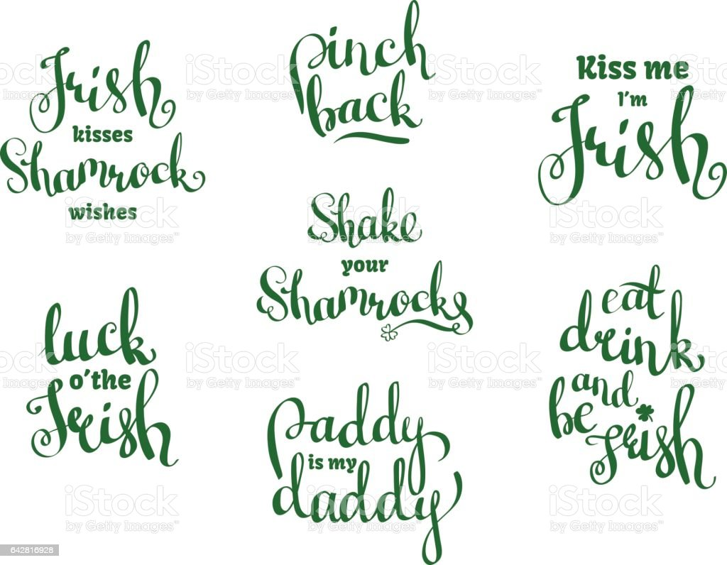 Vector set with hand written phrases for St. Patricks Day