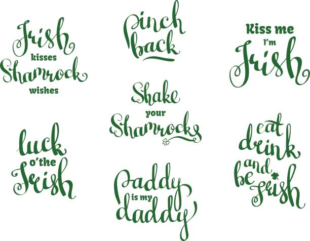 vector set with hand written phrases for st. patricks day - kiss stock illustrations