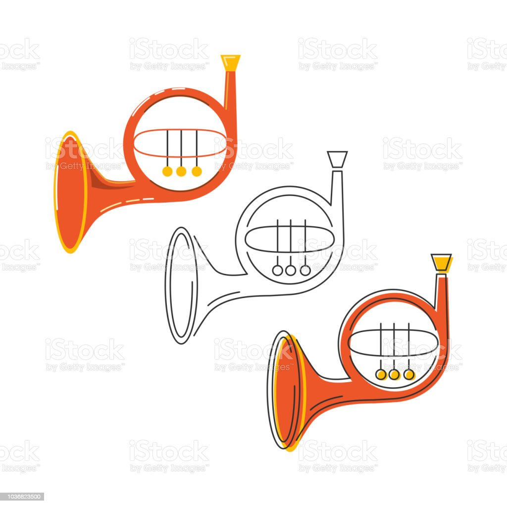 Vector Set With Icons Of French Horn Stock Illustration - Download Image Now