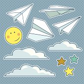 Vector set with isolated paper planes, stars, moon, clouds
