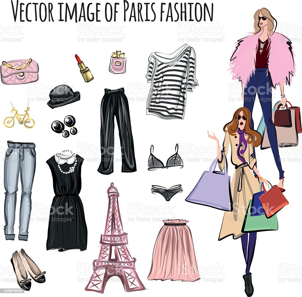 Vector set with items in Paris fashion style vector art illustration