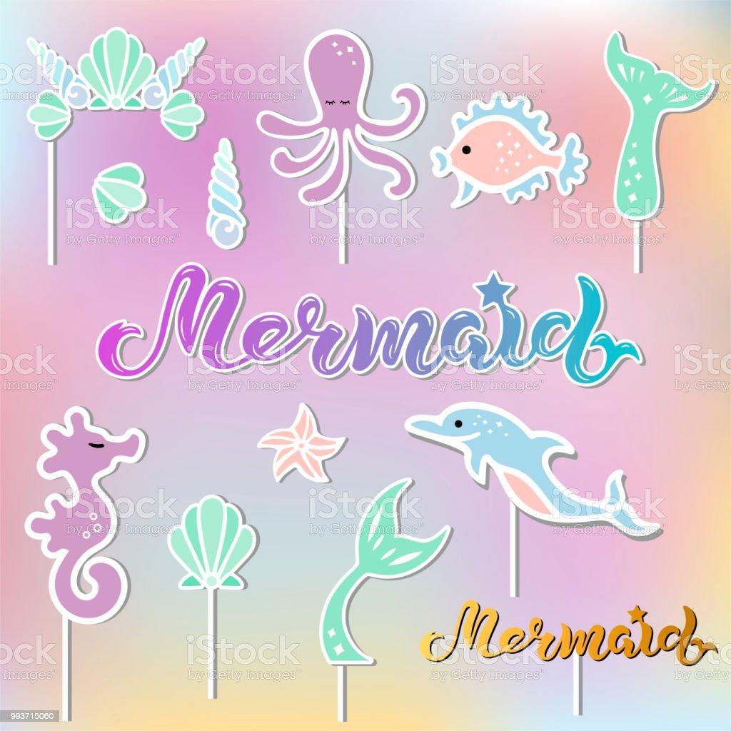 Vetor definido com rotulação sereia Seashell coroa, cauda, cavalo-marinho, polvo. - ilustração de arte em vetor