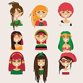 Vector set with lovely rastafarian girls characters.