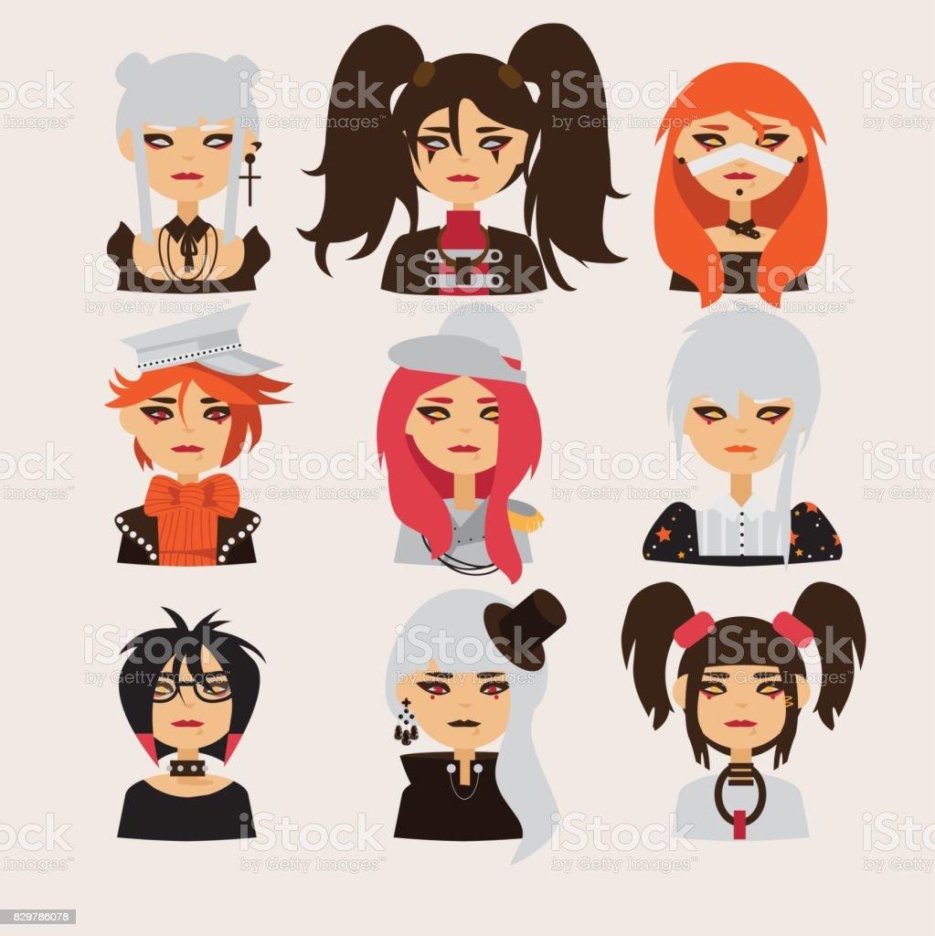ベクトルは素敵なビジュアル系の女の子と文字を設定します かつらの
