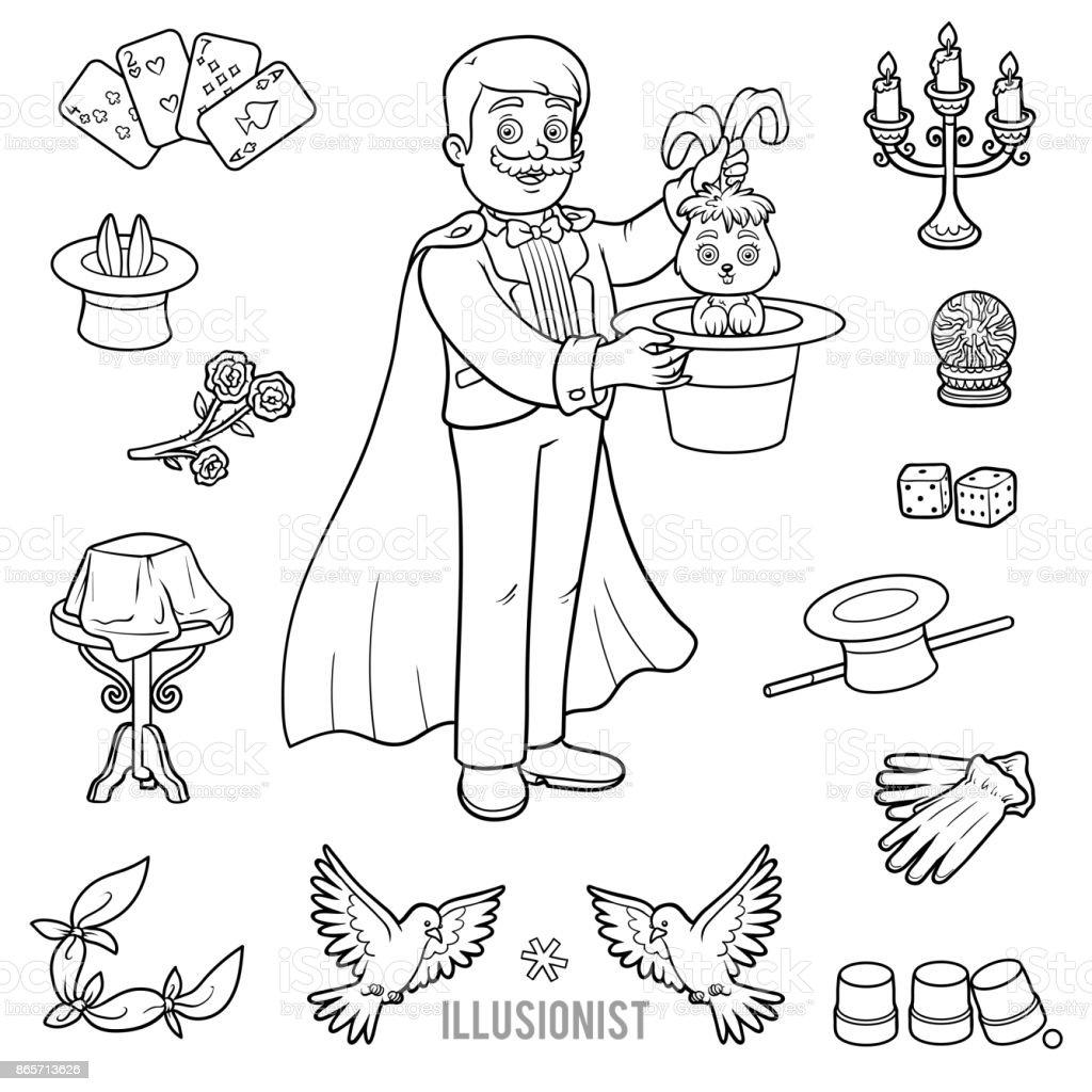 Ilustración de Vector Con Mago Y Objetos Para Trucos De Magia y más ...