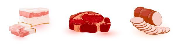 illustrazioni stock, clip art, cartoni animati e icone di tendenza di vector set with meat products of market, butchery shop, store: salo, high-fat bacon, ham, sausage - mortadella