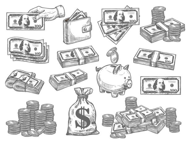 Vector set with money Finance and money hand drown set. Flat design vector set with coins, dollars, wallet and piggy bank. Paper money vector set. Money and coin icon set. Set a various kind of money isolated on white banking drawings stock illustrations