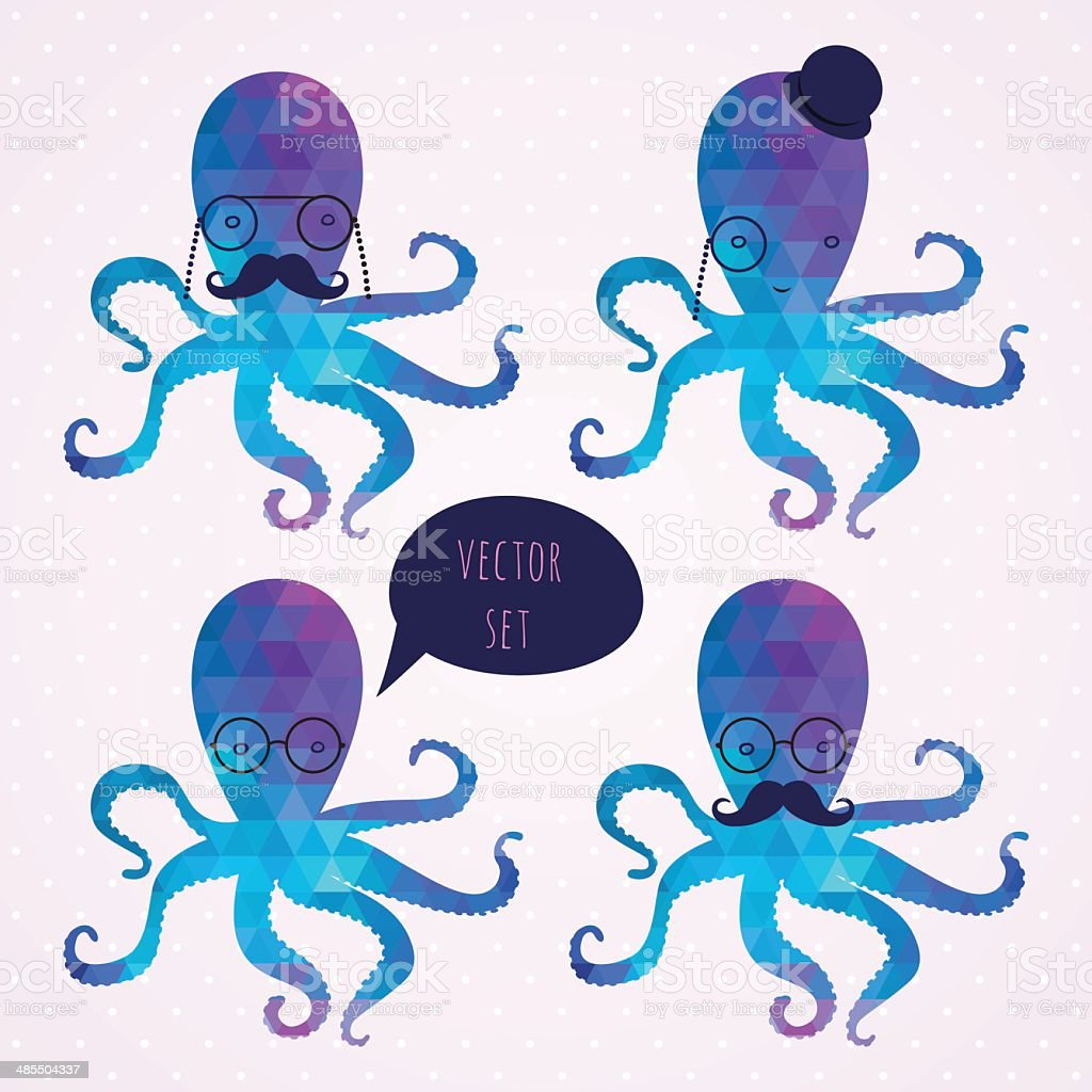 vector set with octopus. mustaches. hipster card vector art illustration
