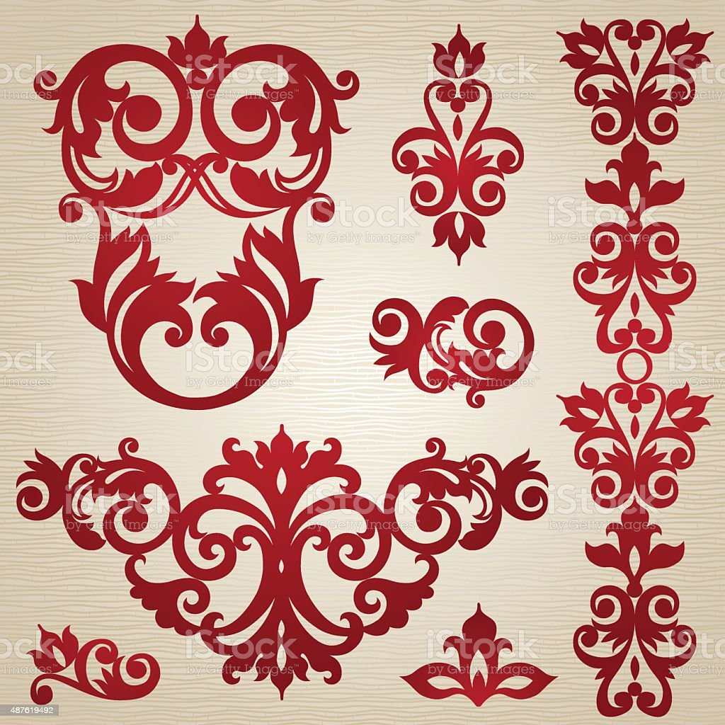 Vector set with ornament in Victorian style. vector art illustration