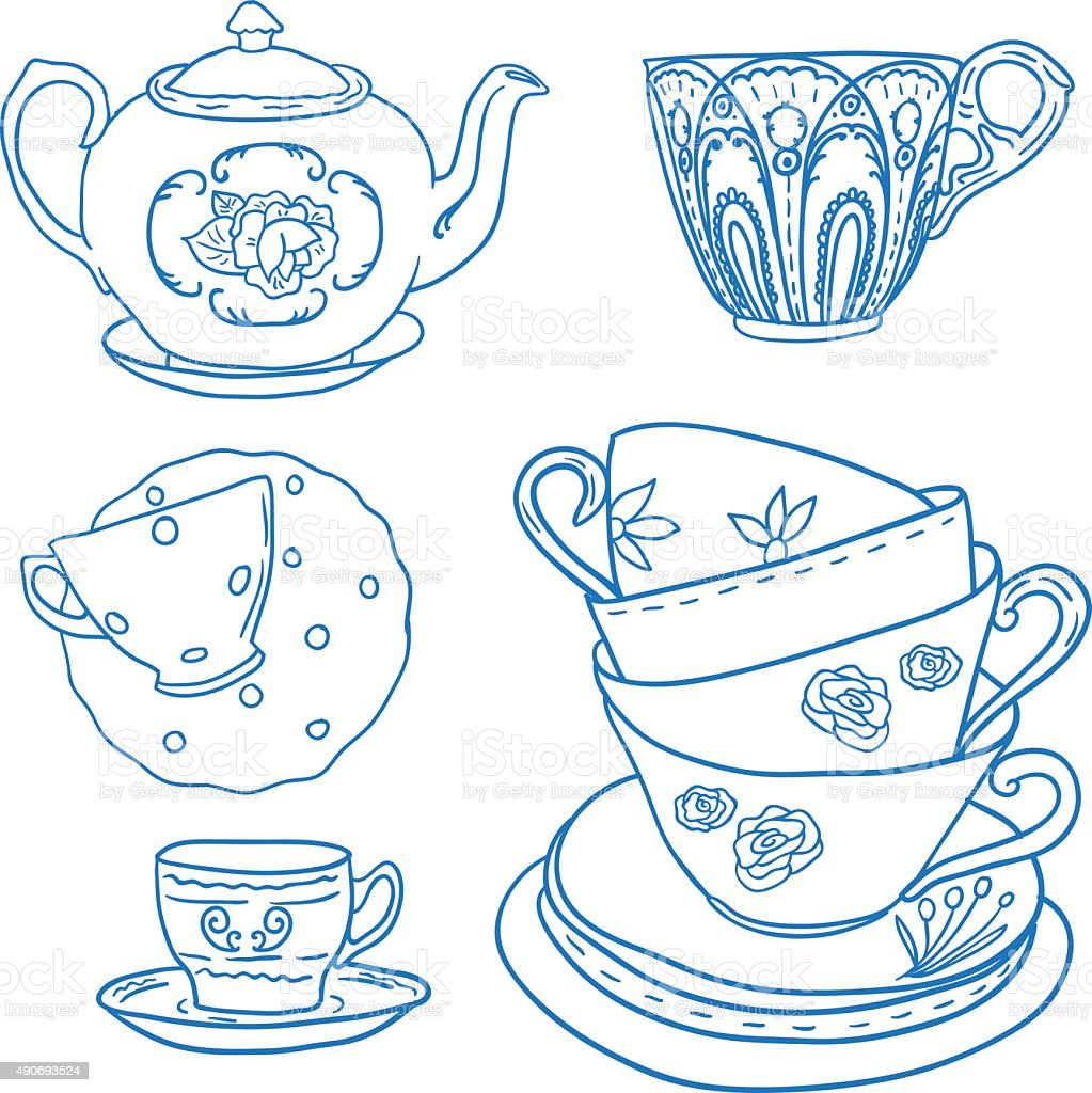 Vector set with teapots and teacups. vector art illustration