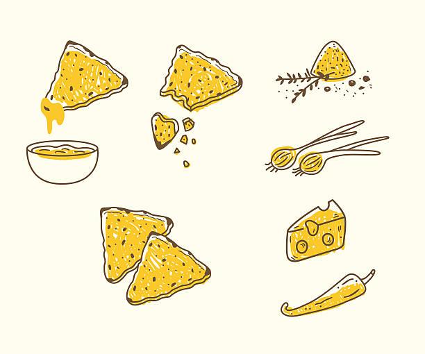 vektor-set mit tortilla chips mit dips - gewerbliche küche stock-grafiken, -clipart, -cartoons und -symbole