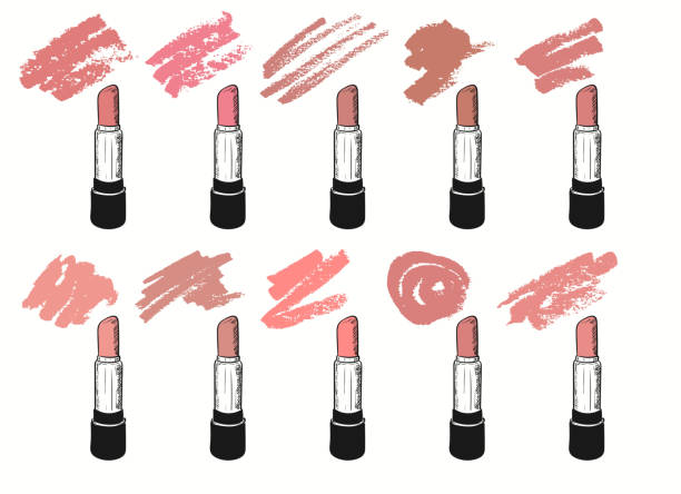 Vector set with trendy nude shades of lipstick on white background. Illustration in grunge sketch style with lipsticks and smears Vector set with trendy nude shades of lipstick on white background. Illustration in grunge sketch style with lipsticks and smears.You can easy change colors in the editor lipstick stock illustrations