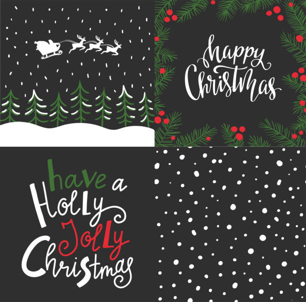 vector set with winter cards, christmas elements and lettering- 'happy christmas' and 'have a holly jolly christmas'. holiday backgrounds design. - cheerful stock illustrations