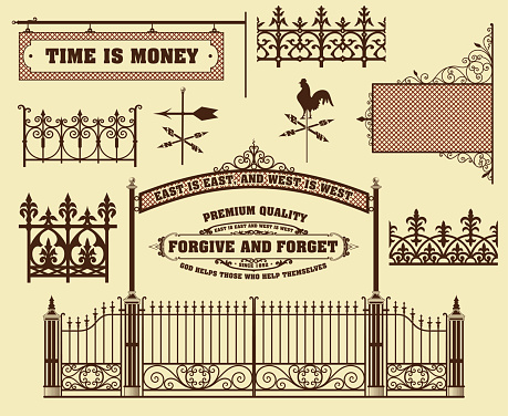 Vector set: wrought iron wicket, fence and gates grilles isolate