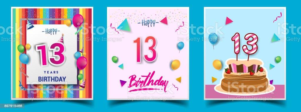 Vector sets of birthday invitation greeting card design with vector sets of birthday invitation greeting card design with confetti and balloons birthday stopboris Images