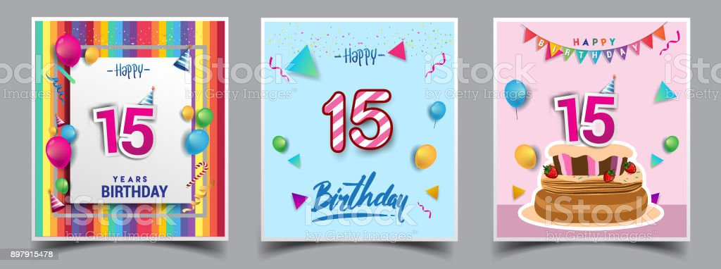 Stupendous Vector Sets Of Birthday Invitation Greeting Card Design With Funny Birthday Cards Online Sheoxdamsfinfo