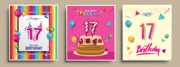 Best Happy 17th Birthday Illustrations Royalty Free