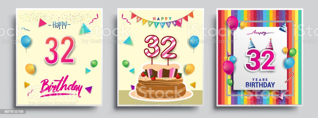 Vector Sets of Birthday invitation, greeting card Design, with confetti and balloons, birthday cake, Colorful Vector template Elements for your Birthday Celebration Party. vector art illustration