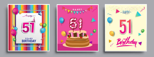 Best 51st Birthday Illustrations Royalty Free Vector
