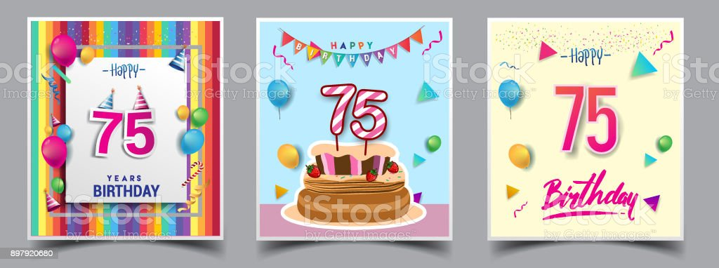 Vector Sets Of Birthday Invitation Greeting Card Design With Confetti And Balloons