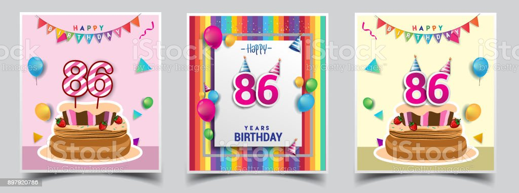 vector sets of birthday invitation greeting card design with