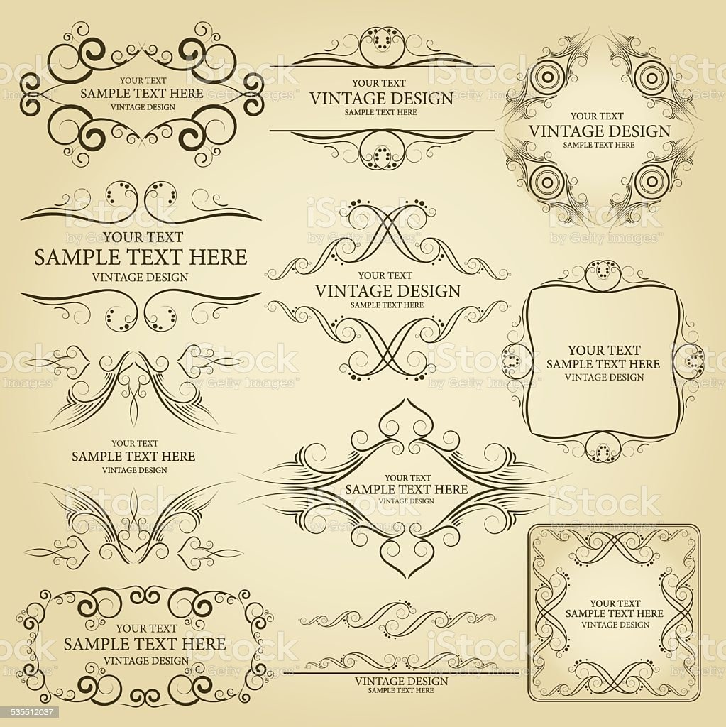 Vector set:vintage frame vector art illustration