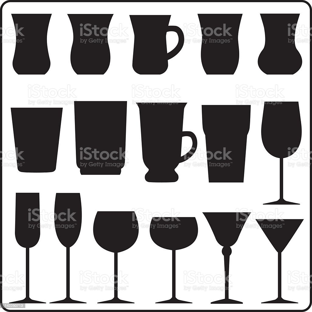 Vector several cups silhouette vector art illustration