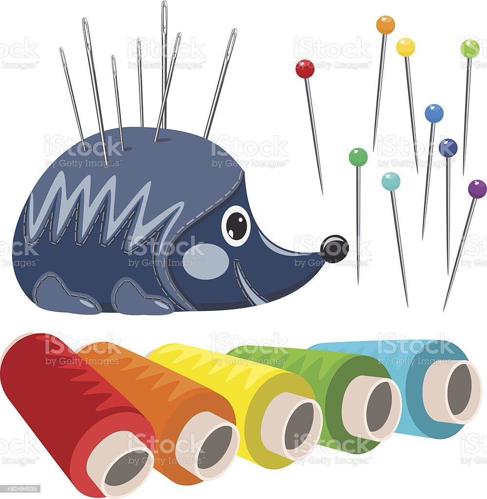 Vector sewing accessories isolated on white royalty-free vector sewing accessories isolated on white stock vector art & more images of art and craft