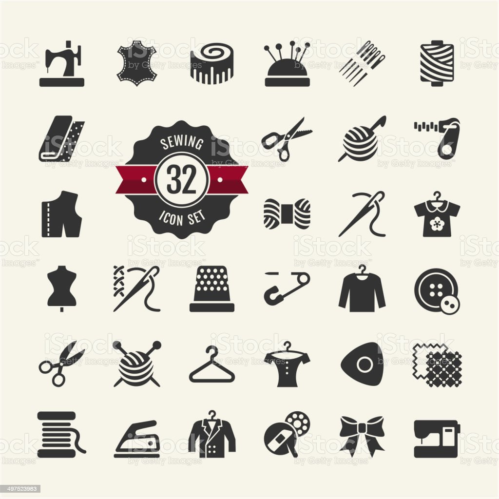 Vector sewing equipment and needlework icon set vector art illustration
