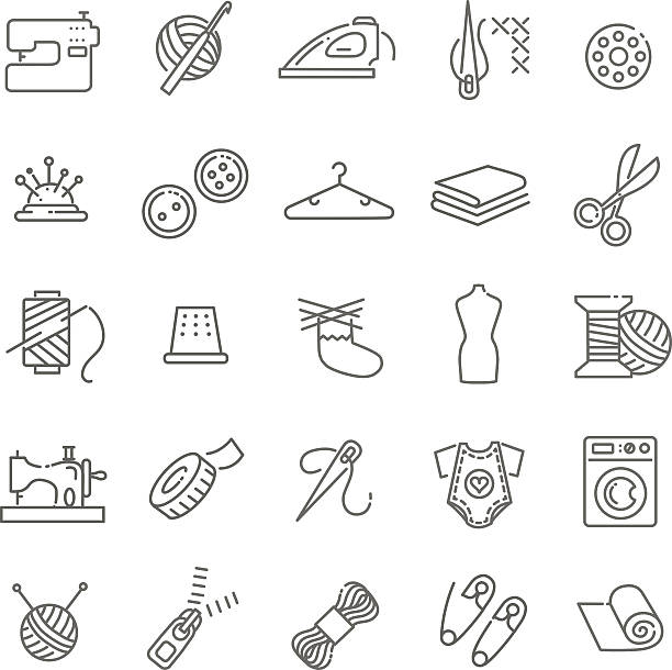 illustrazioni stock, clip art, cartoni animati e icone di tendenza di vettore di attrezzature da cucire e ricamo set di icone - tailor working