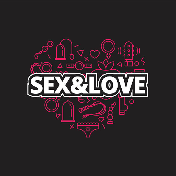 Vector sex shop icons in shape of heart. Trendy two Vector sex shop icons set in shape of heart. Trendy two color line style sex store symbols sex toy stock illustrations