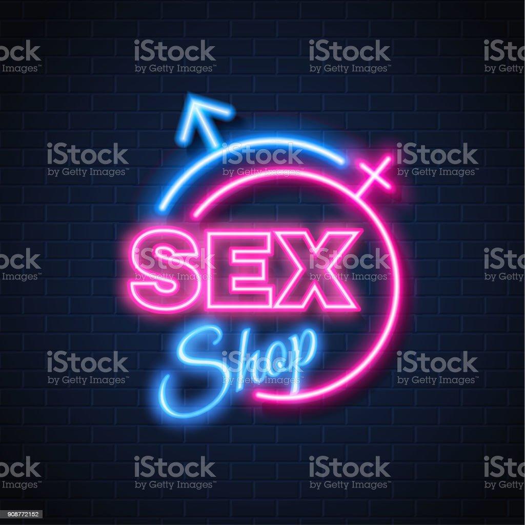 Vector sex shop neon sign gender man woman symbol royalty-free vector sex  shop neon