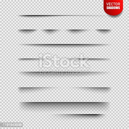 Vector shadows isolated. Vector design elements divider lines Set of shadow effects. Transparent shadow realistic illustration