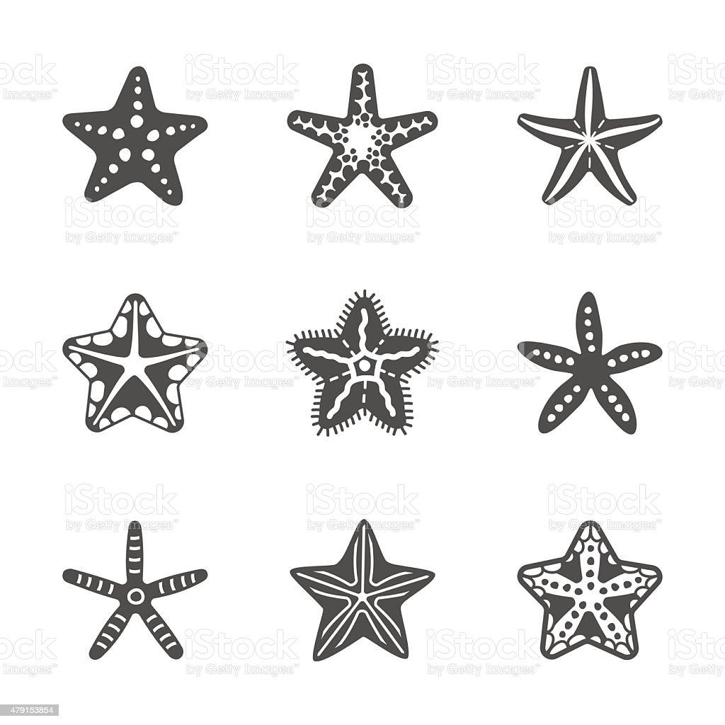 Vector shape set of various sea starfish vector art illustration