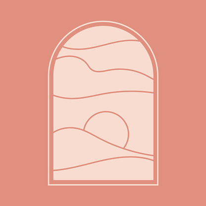 vector; shapes; organic; poster; staircase; night; moon; icon; social media; summer; pastel; earth; scandinavian; trendy; natural; nature; design; template; geometric; color; illustration; brown; oriental; orient; travel; shape; print; art; minimal; minim