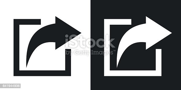 Vector share icon. Two-tone version on black and white background