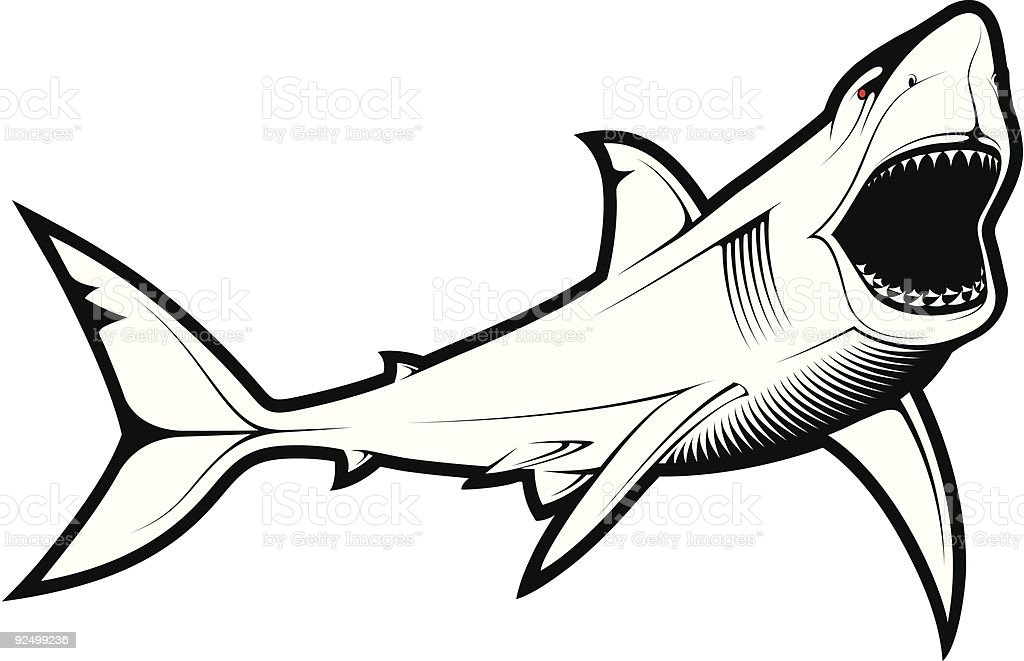 Line Art Of Fish : Vector shark stock art & more images of animal mouth 92499236