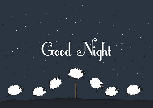 Vector sheep - Good Night Sheeps everyone counts at night. counting stock illustrations