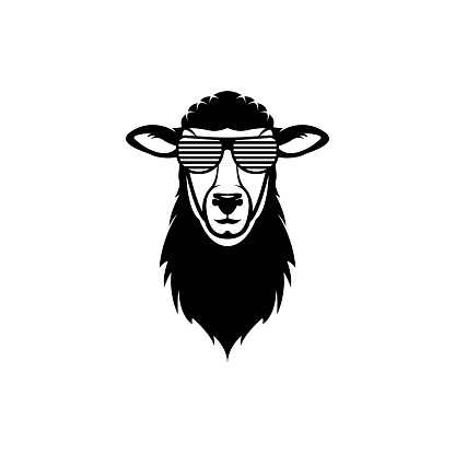 Vector sheep head, face  for retro s, emblems, badges, labels template and t-shirt vintage design element. Isolated on white background