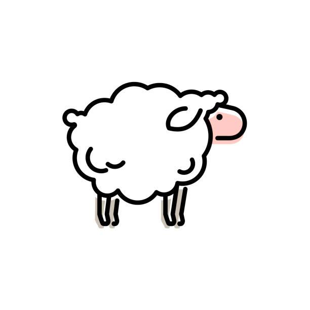 stockillustraties, clipart, cartoons en iconen met vector schapen pictogram ontwerp. - schaap