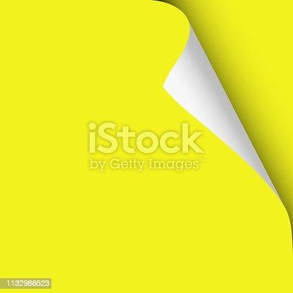 Vector sheet of yellow paper placed on the same with twisted upper right corner. Element for ad.