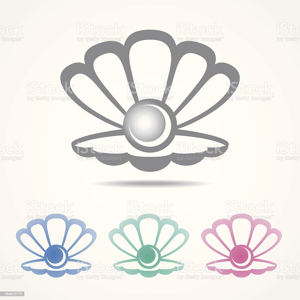 Vector shell icon with a pearl in different colors vector art illustration