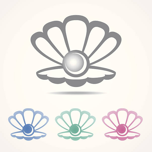 vector shell icon with a pearl in different colors - pearl jewelry stock illustrations, clip art, cartoons, & icons