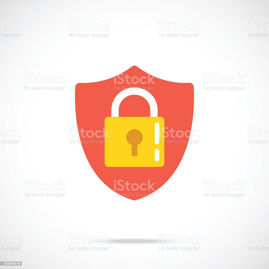 Vector shield and lock icon. Modern flat design vector illustration vector art illustration