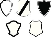 Set of five (5) vector shield crests. All elements are easy to customize.