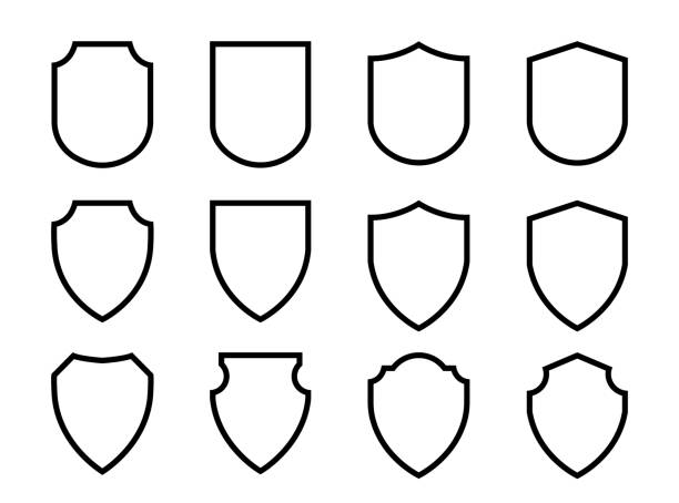 Vector Shield icon. Heraldic shields, security black labels. Vector Shield icon. Heraldic shields, security black labels. Knight award, medieval royal vintage badges isolated vector. shield stock illustrations