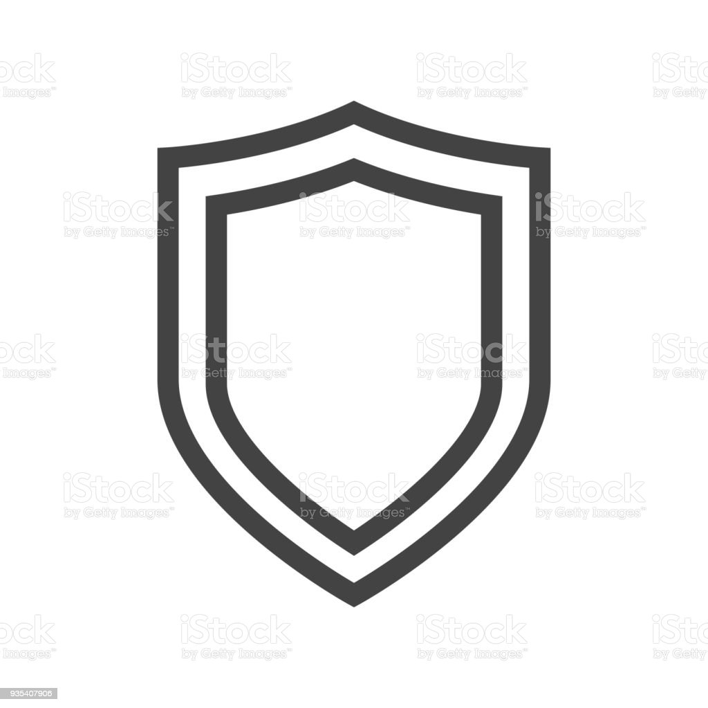 vector shield icon sign logo in thin line style stock vector art rh istockphoto com vector shield dapi vector shield with dapi