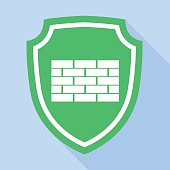 Vector shield with brick mark icon, flat style